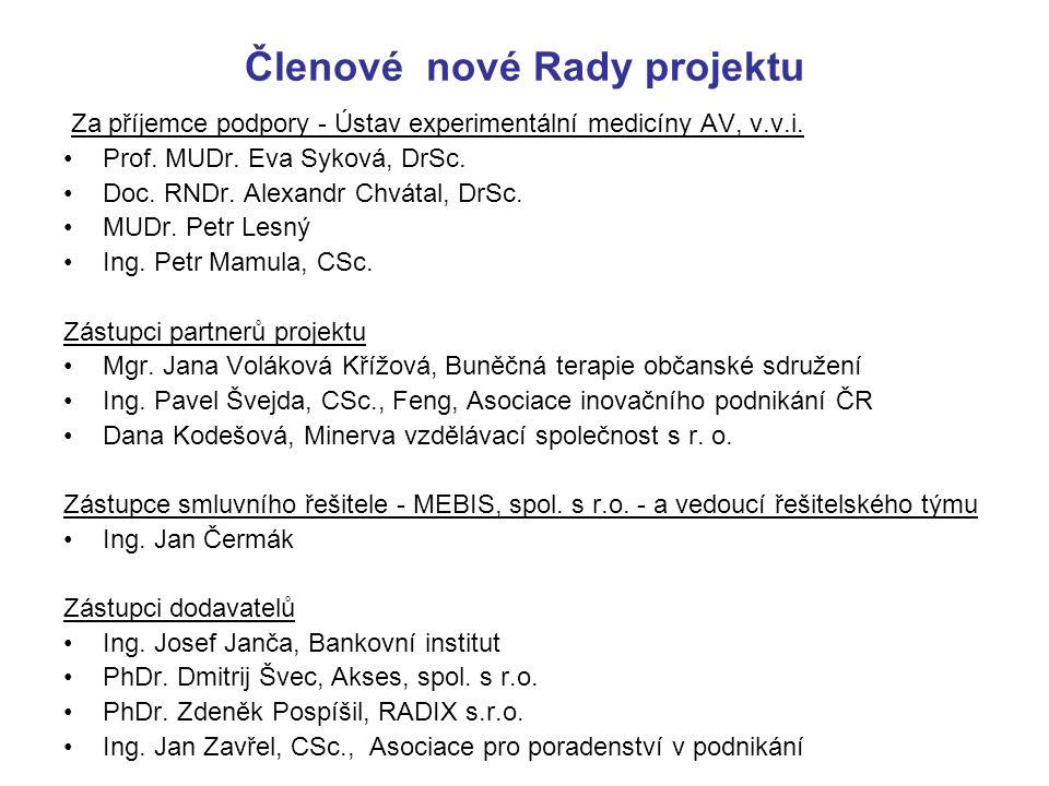 Členové nové Rady projektu Za příjemce podpory - Ústav experimentální medicíny AV, v.v.i. Prof. MUDr. Eva Syková, DrSc. Doc. RNDr. Alexandr Chvátal, D