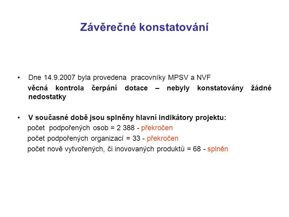 Závěrečné konstatování Dne 14.9.2007 byla provedena pracovníky MPSV a NVF věcná kontrola čerpání dotace – nebyly konstatovány žádné nedostatky V současné době jsou splněny hlavní indikátory projektu: počet podpořených osob = 2 388 - překročen počet podpořených organizací = 33 - překročen počet nově vytvořených, či inovovaných produktů = 68 - splněn