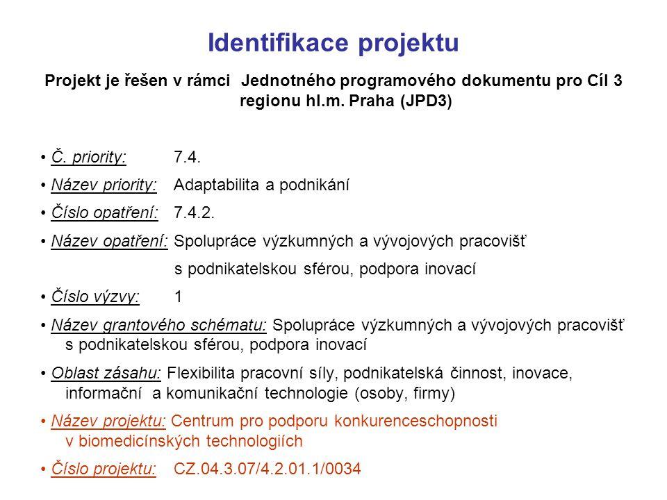 Identifikace projektu Projekt je řešen v rámci Jednotného programového dokumentu pro Cíl 3 regionu hl.m. Praha (JPD3) Č. priority:7.4. Název priority: