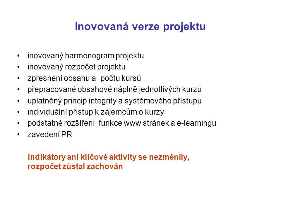 Inovovaná verze projektu inovovaný harmonogram projektu inovovaný rozpočet projektu zpřesnění obsahu a počtu kursů přepracované obsahové náplně jednot