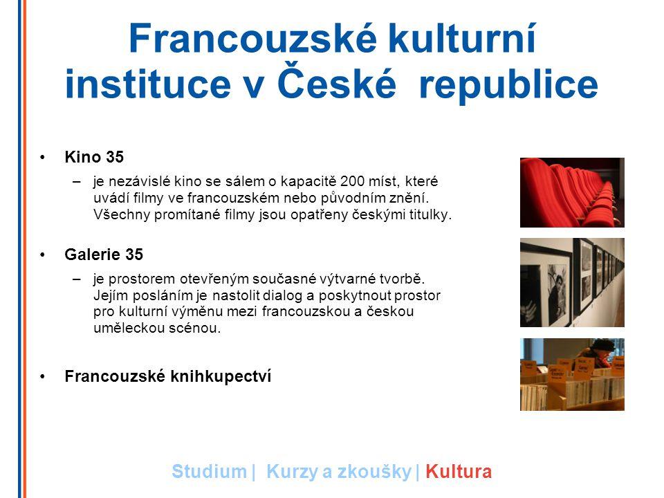 Francouzské kulturní instituce v České republice Kino 35 –je nezávislé kino se sálem o kapacitě 200 míst, které uvádí filmy ve francouzském nebo původním znění.