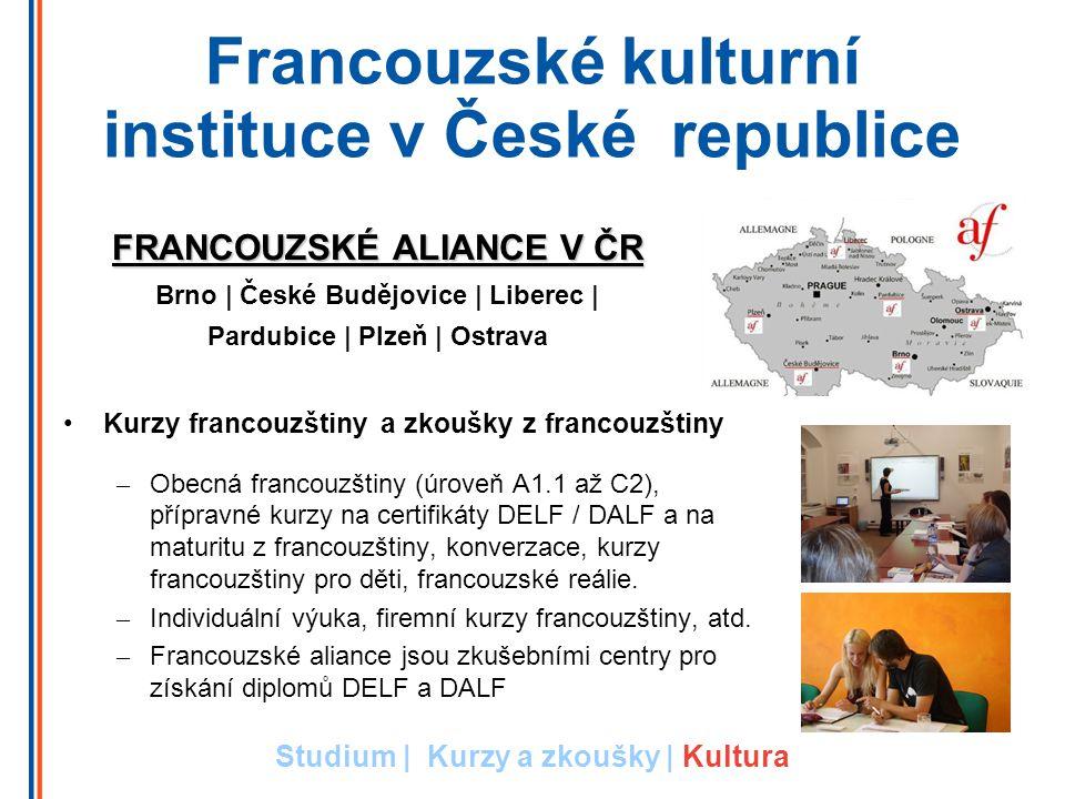 Francouzské kulturní instituce v České republice Kurzy francouzštiny a zkoušky z francouzštiny – Obecná francouzštiny (úroveň A1.1 až C2), přípravné kurzy na certifikáty DELF / DALF a na maturitu z francouzštiny, konverzace, kurzy francouzštiny pro děti, francouzské reálie.