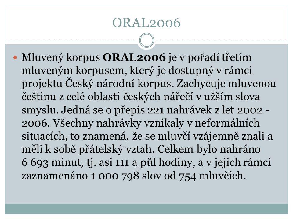 ORAL2006 Mluvený korpus ORAL2006 je v pořadí třetím mluveným korpusem, který je dostupný v rámci projektu Český národní korpus. Zachycuje mluvenou češ