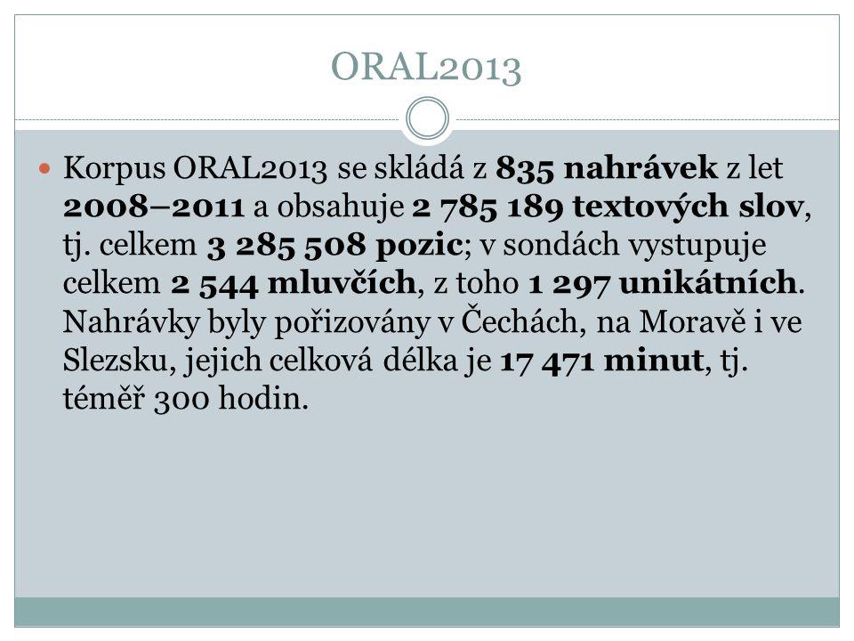 ORAL2013 Korpus ORAL2013 se skládá z 835 nahrávek z let 2008–2011 a obsahuje 2 785 189 textových slov, tj. celkem 3 285 508 pozic; v sondách vystupuje