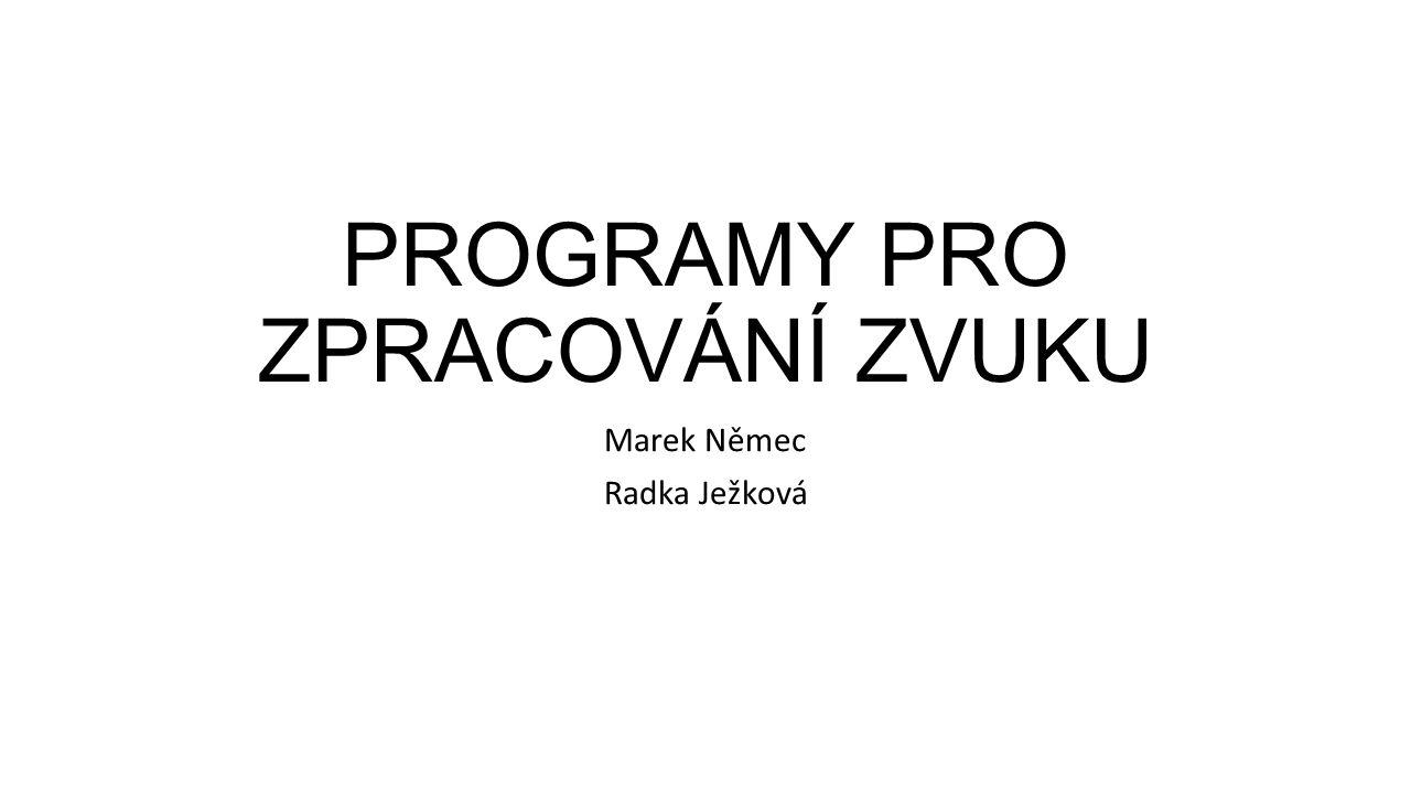 PROGRAMY PRO ZPRACOVÁNÍ ZVUKU Marek Němec Radka Ježková