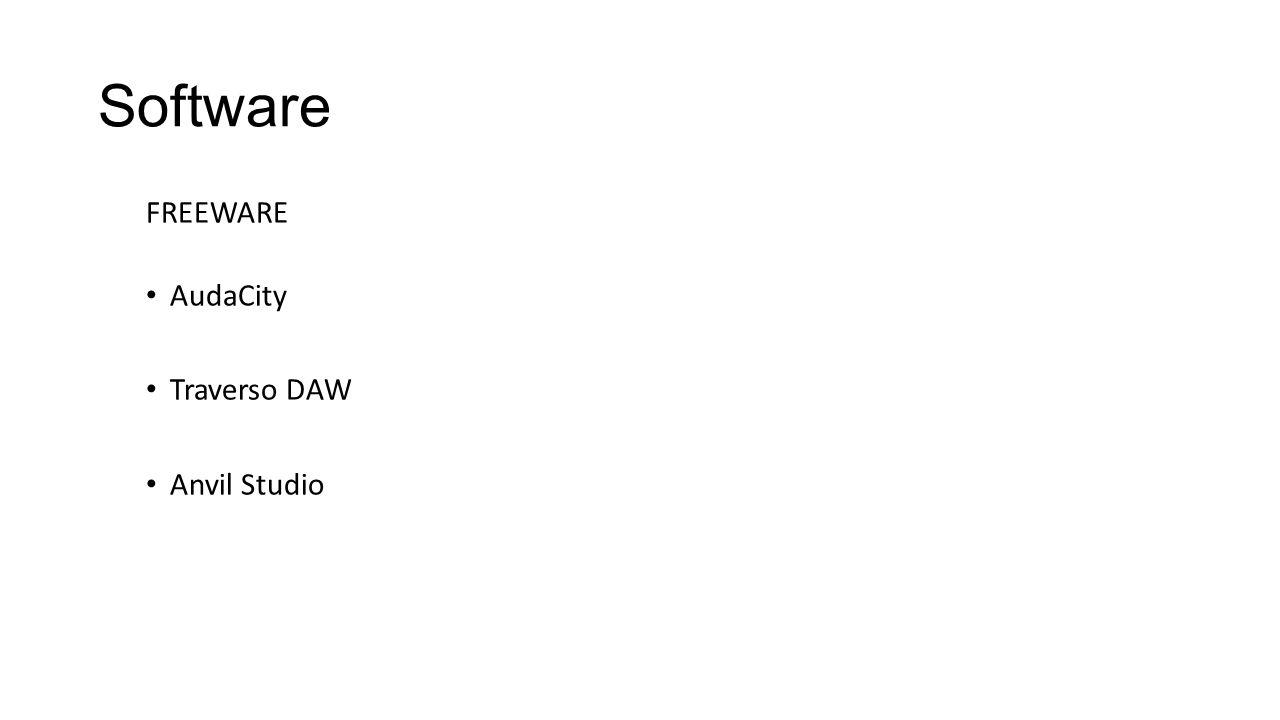 Software FREEWARE AudaCity Traverso DAW Anvil Studio