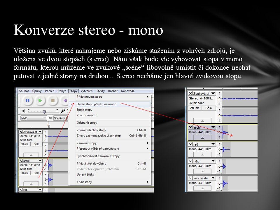 Většina zvuků, které nahrajeme nebo získáme stažením z volných zdrojů, je uložena ve dvou stopách (stereo).