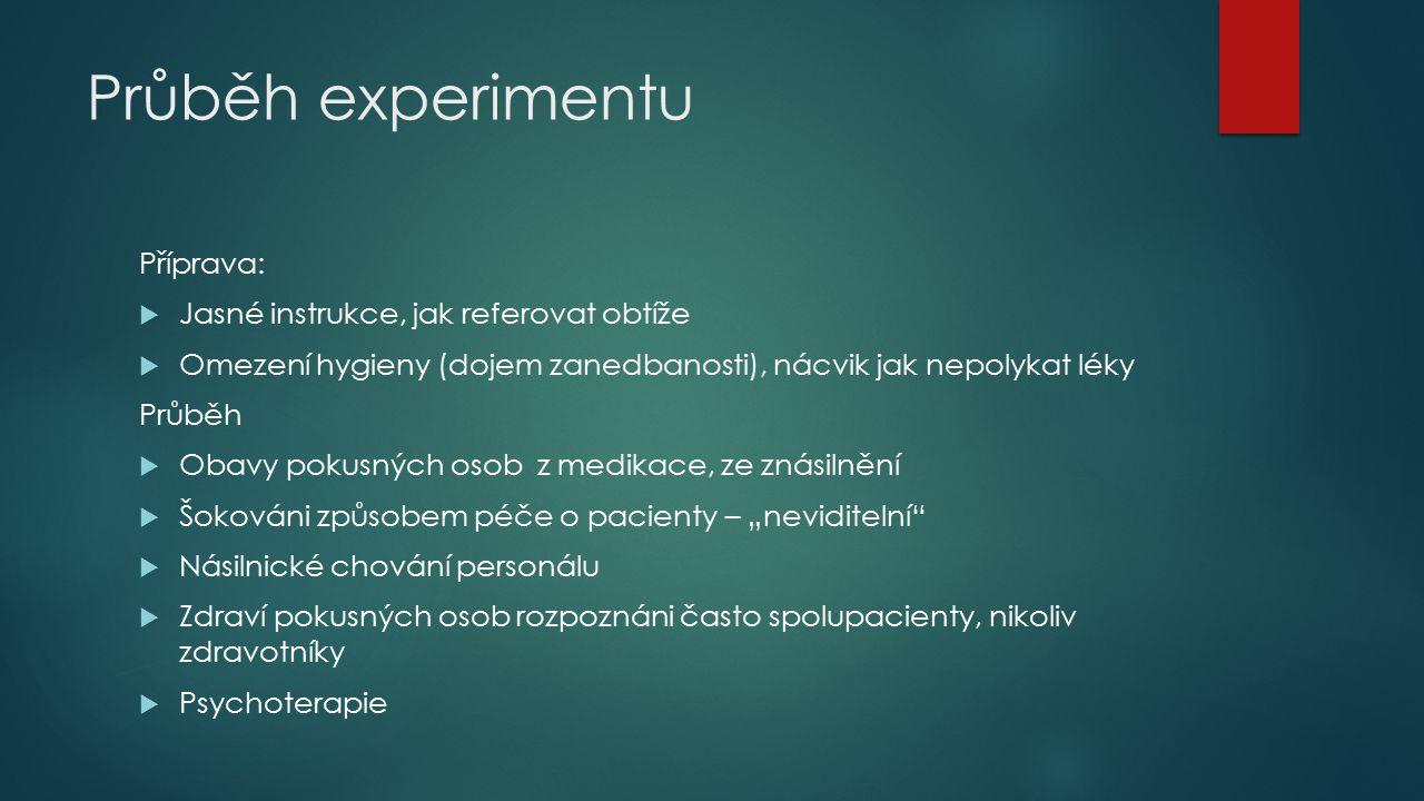 Průběh experimentu Příprava:  Jasné instrukce, jak referovat obtíže  Omezení hygieny (dojem zanedbanosti), nácvik jak nepolykat léky Průběh  Obavy