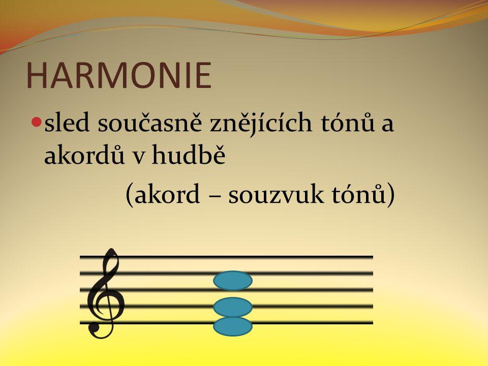 HARMONIE sled současně znějících tónů a akordů v hudbě (akord – souzvuk tónů)
