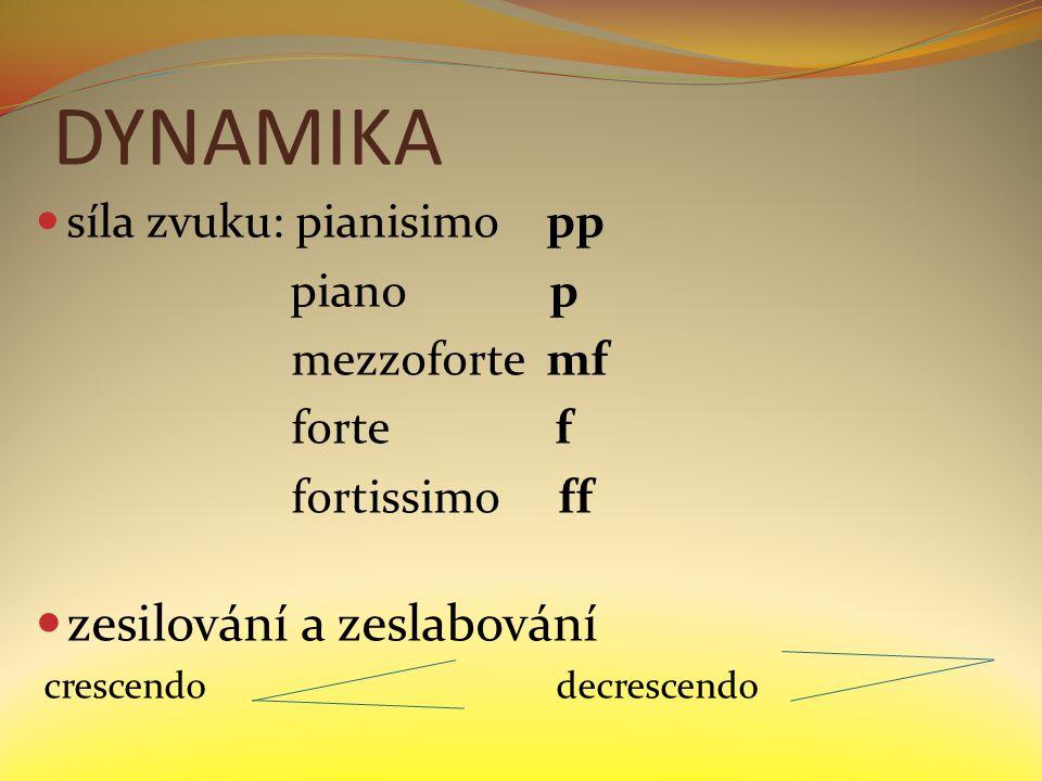 DYNAMIKA síla zvuku: pianisimo pp piano p mezzoforte mf forte f fortissimo ff zesilování a zeslabování crescendodecrescendo