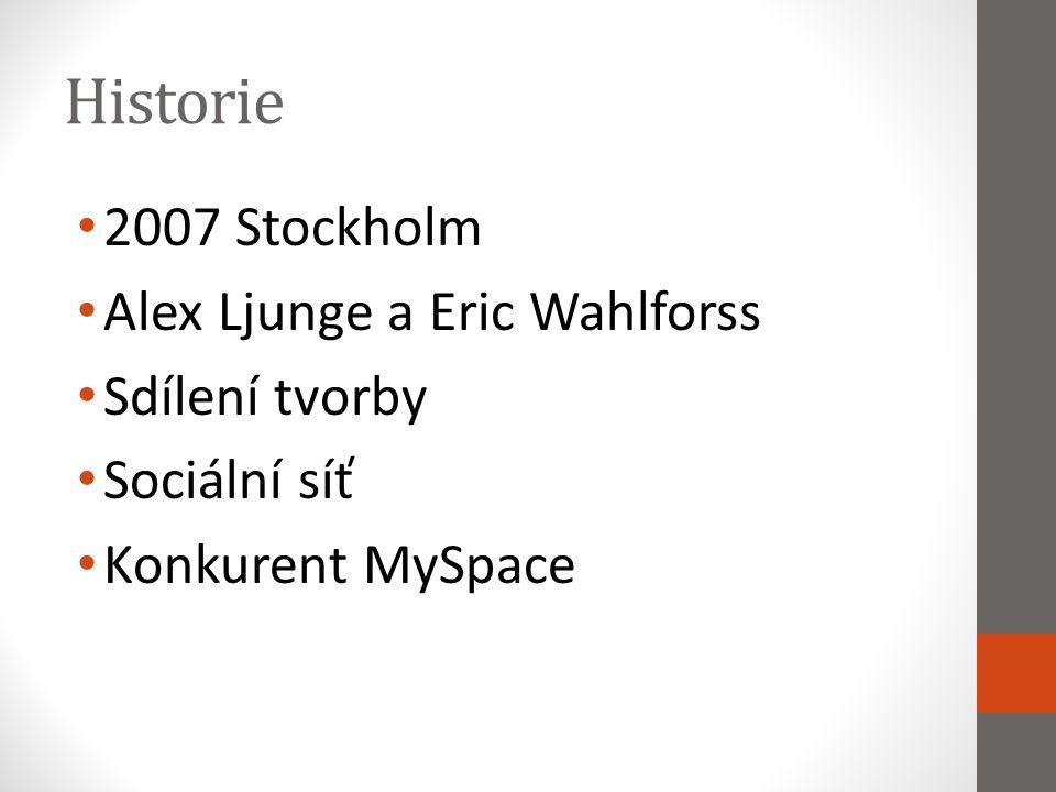 Historie 2007 Stockholm Alex Ljunge a Eric Wahlforss Sdílení tvorby Sociální síť Konkurent MySpace