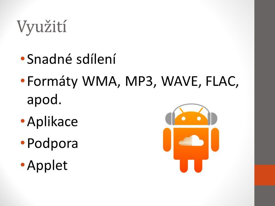 Využití Snadné sdílení Formáty WMA, MP3, WAVE, FLAC, apod. Aplikace Podpora Applet