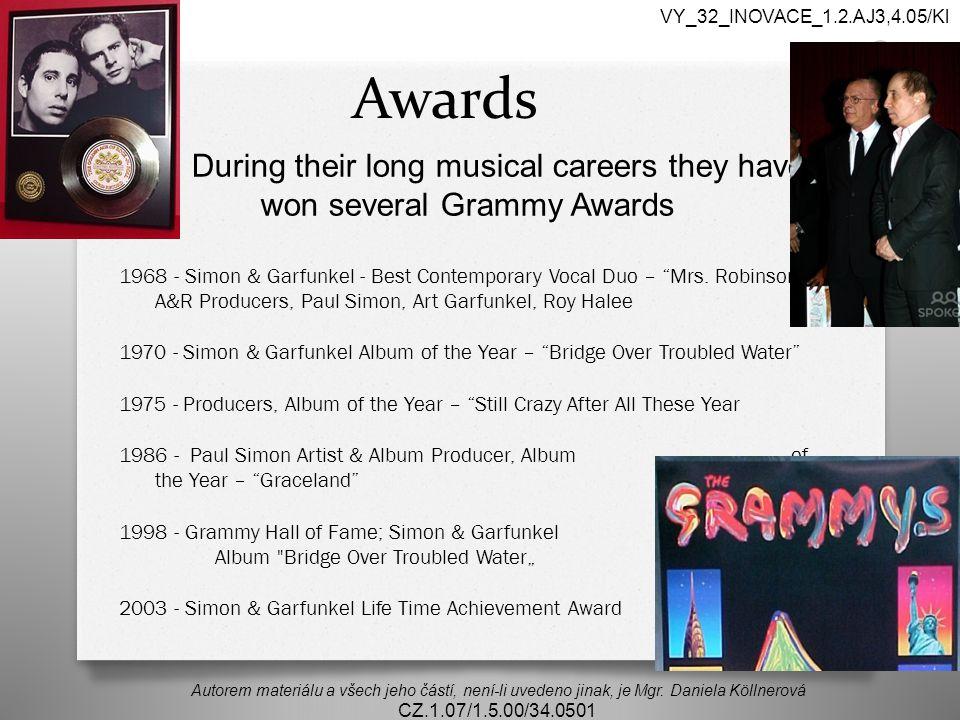 Awards Autorem materiálu a všech jeho částí, není-li uvedeno jinak, je Mgr.