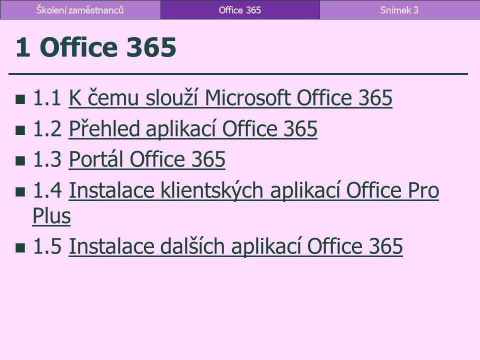 1.1 K čemu slouží Office 365 kancelářské aplikace Microsoftu a úložiště dat vytváření a zpracování dokumentů ukládání a sdílení dokumentů systém sjednocené komunikace formy webové aplikace není nutná instalace klientské aplikace více funkcí plán A2 webové aplikace dostupné všem klientské aplikace dostupné všem nepřerušeným studentům až na 5 zařízení Office 365Snímek 4Školení zaměstnanců