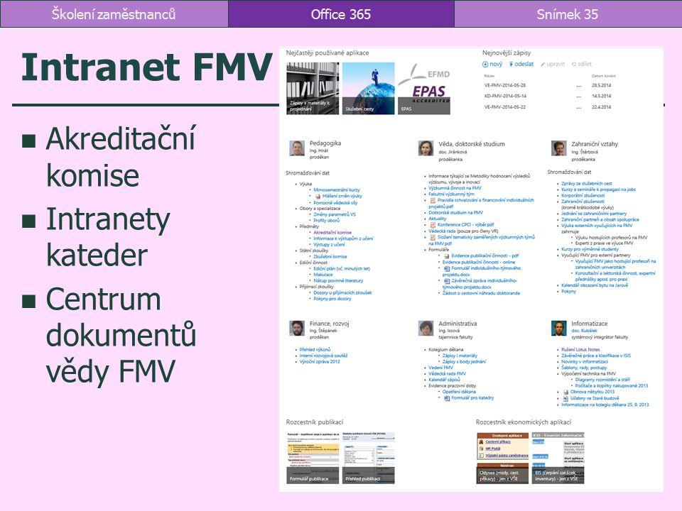 Intranet FMV Akreditační komise Intranety kateder Centrum dokumentů vědy FMV Office 365Snímek 35Školení zaměstnanců