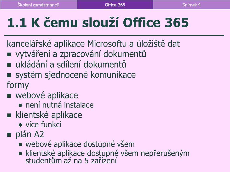 1.1 K čemu slouží Office 365 kancelářské aplikace Microsoftu a úložiště dat vytváření a zpracování dokumentů ukládání a sdílení dokumentů systém sjedn