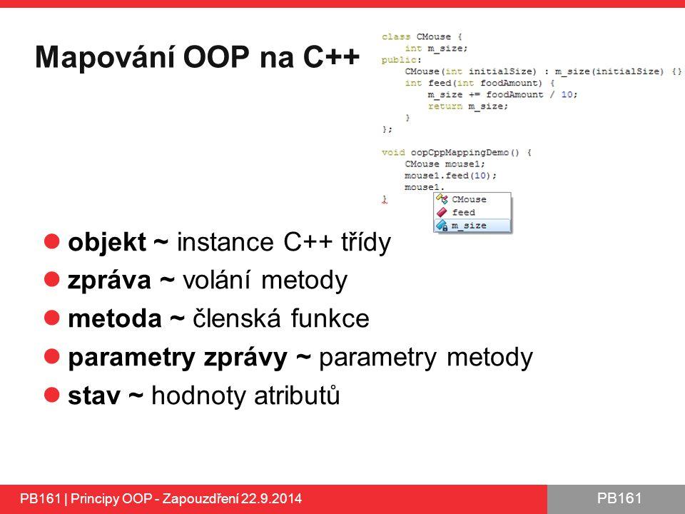 PB161 Mapování OOP na C++ objekt ~ instance C++ třídy zpráva ~ volání metody metoda ~ členská funkce parametry zprávy ~ parametry metody stav ~ hodnoty atributů PB161 | Principy OOP - Zapouzdření 22.9.2014