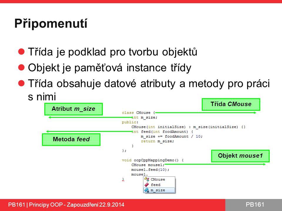 PB161 Připomenutí Třída je podklad pro tvorbu objektů Objekt je paměťová instance třídy Třída obsahuje datové atributy a metody pro práci s nimi PB161 | Principy OOP - Zapouzdření 22.9.2014 Objekt mouse1 Třída CMouse Atribut m_size Metoda feed