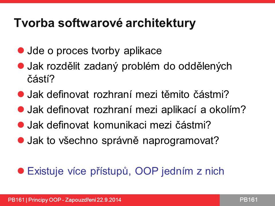 PB161 Tvorba softwarové architektury Jde o proces tvorby aplikace Jak rozdělit zadaný problém do oddělených částí.