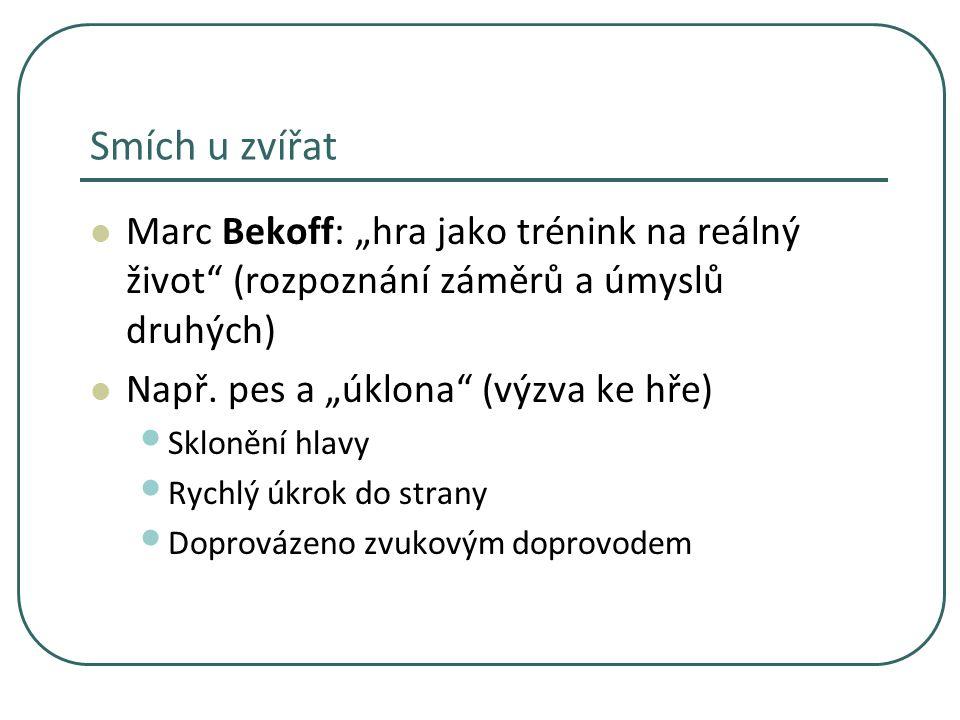 """Smích u zvířat Marc Bekoff: """"hra jako trénink na reálný život"""" (rozpoznání záměrů a úmyslů druhých) Např. pes a """"úklona"""" (výzva ke hře) Sklonění hlavy"""