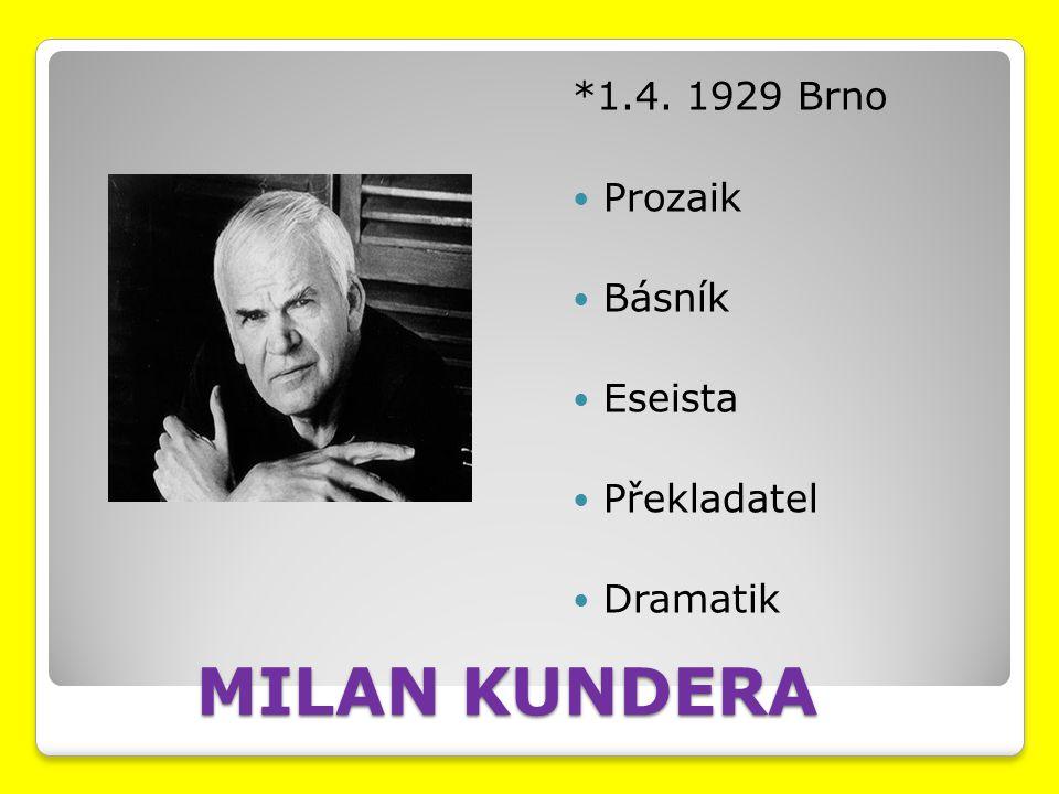 MILAN KUNDERA *1.4. 1929 Brno Prozaik Básník Eseista Překladatel Dramatik