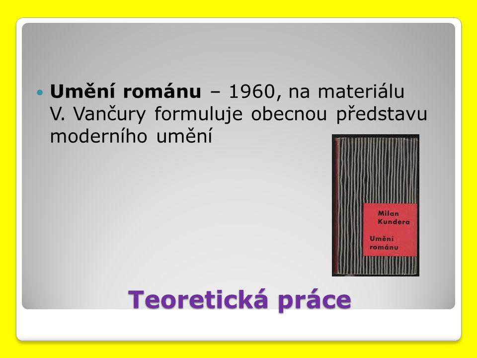 Teoretická práce Umění románu – 1960, na materiálu V. Vančury formuluje obecnou představu moderního umění
