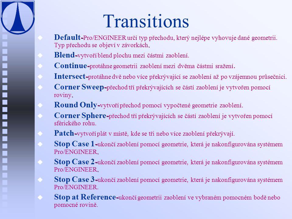 Transitions u -. u Default- Pro/ENGINEER určí typ přechodu, který nejlépe vyhovuje dané geometrii.