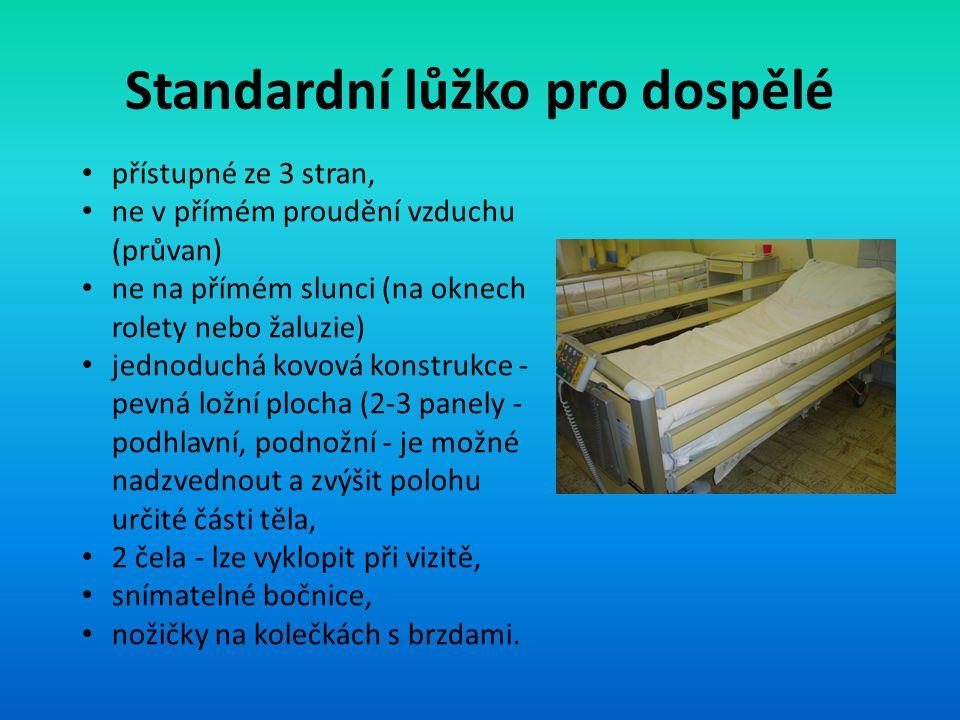Standardní lůžko pro dospělé přístupné ze 3 stran, ne v přímém proudění vzduchu (průvan) ne na přímém slunci (na oknech rolety nebo žaluzie) jednoduch