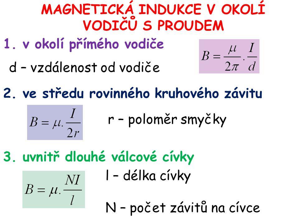 MAGNETICKÁ INDUKCE V OKOLÍ VODIČŮ S PROUDEM 1. v okolí přímého vodiče d – vzdálenost od vodiče 2. ve středu rovinného kruhového závitu 3. uvnitř dlouh