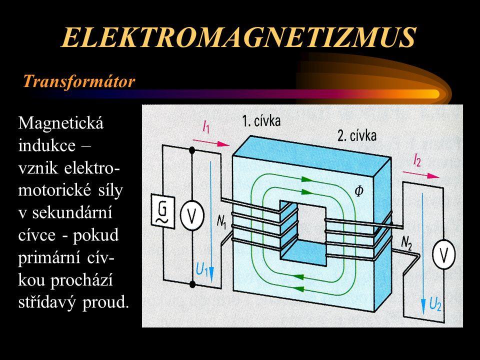 ELEKTROMAGNETIZMUS Transformátor První cívka je primární = vstupní - má N 1 závitů – přivádí se na ní primární (vstupní) napětí U 1 a prochází jí primární (vstupní) proud I 1 – její (vstupní) příkon je P 1 a je primárním příkonem transformátoru.