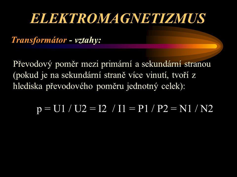 ELEKTROMAGNETIZMUS Transformátor - vztahy: Velikost indukované elektromotorické síly v sekundárním vinutí – a její maximální hodnota: U 2max = ω * Φ 2max * N 2 = 2 * π * f * Φ 2max * N 2 U 2max = ( 2 * π / √2 ) * f * B max * S * N 2 U 2max = 4.44.* f * B max * S * N 2 [ V ; Hz ; T ; m 2 ; - ; počet záv.