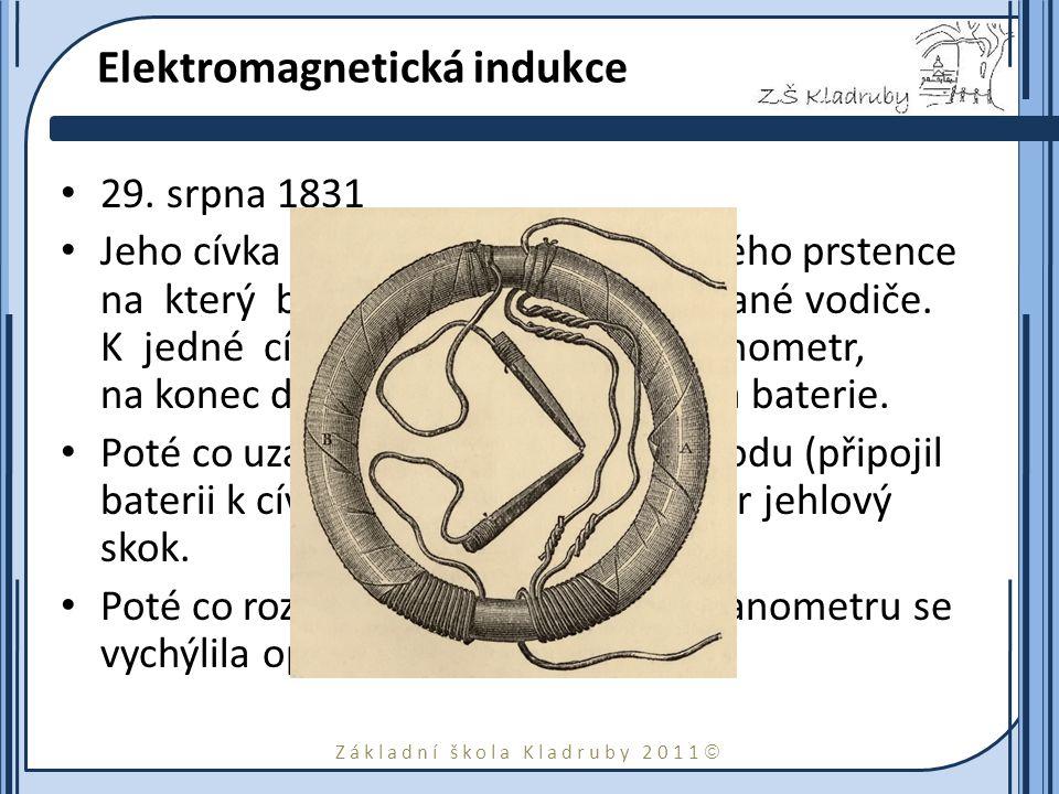 Základní škola Kladruby 2011  Objev Dynama Při pokusu při nichž se zabýval jevy spojenými s elektromagnetickou indukci, narazil Faraday ještě na další využití a vlastnosti tohoto jevu.