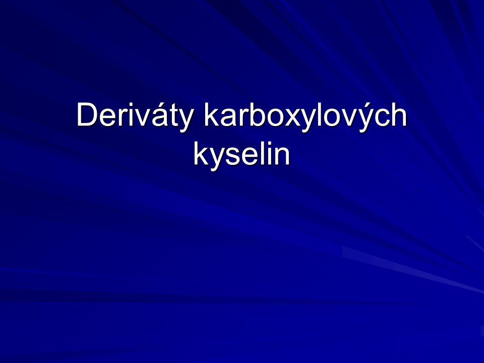 Dělení: Funkční deriváty: deriváty karboxylové skupinyderiváty karboxylové skupiny vznik - náhrada atomu vodíkuvznik - náhrada atomu vodíku - náhrada hydroxylové skupiny - náhrada hydroxylové skupiny názvosloví: specifická koncovka podle typu derivátunázvosloví: specifická koncovka podle typu derivátu Substituční deriváty deriváty uhlovodíkového zbytkuderiváty uhlovodíkového zbytku obsahují skupinu COOH obsahují skupinu COOH