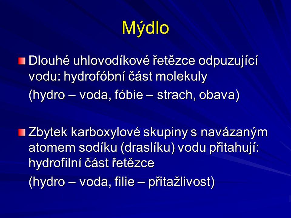 Mýdlo Dlouhé uhlovodíkové řetězce odpuzující vodu: hydrofóbní část molekuly (hydro – voda, fóbie – strach, obava) Zbytek karboxylové skupiny s navázan