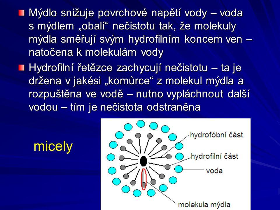 """Mýdlo snižuje povrchové napětí vody – voda s mýdlem """"obalí"""" nečistotu tak, že molekuly mýdla směřují svým hydrofilním koncem ven – natočena k molekulá"""