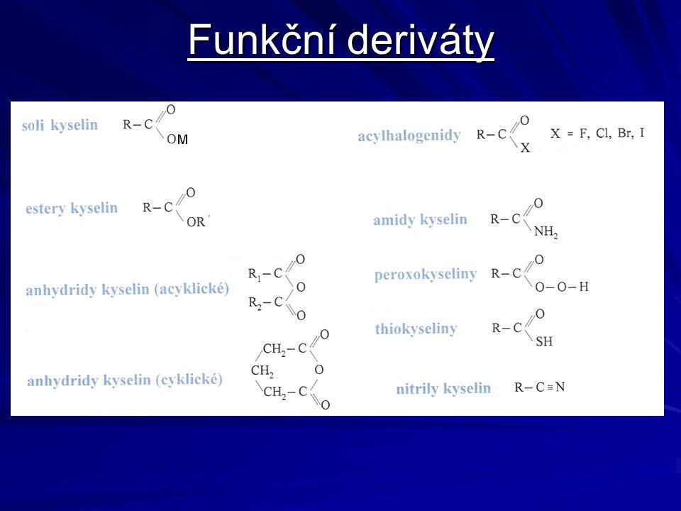 názvosloví U kyselin, které mají triviální název se používá triviální název i ke tvorbě acylu –Formyl (od mravenčí) –Acetyl (od octové) –Propionyl (od propanové) –Butyryl (od máselné) –Palmitoyl (od palmitové) –Stearoyl (od stearové) –Oxalyl (od šťavelové)