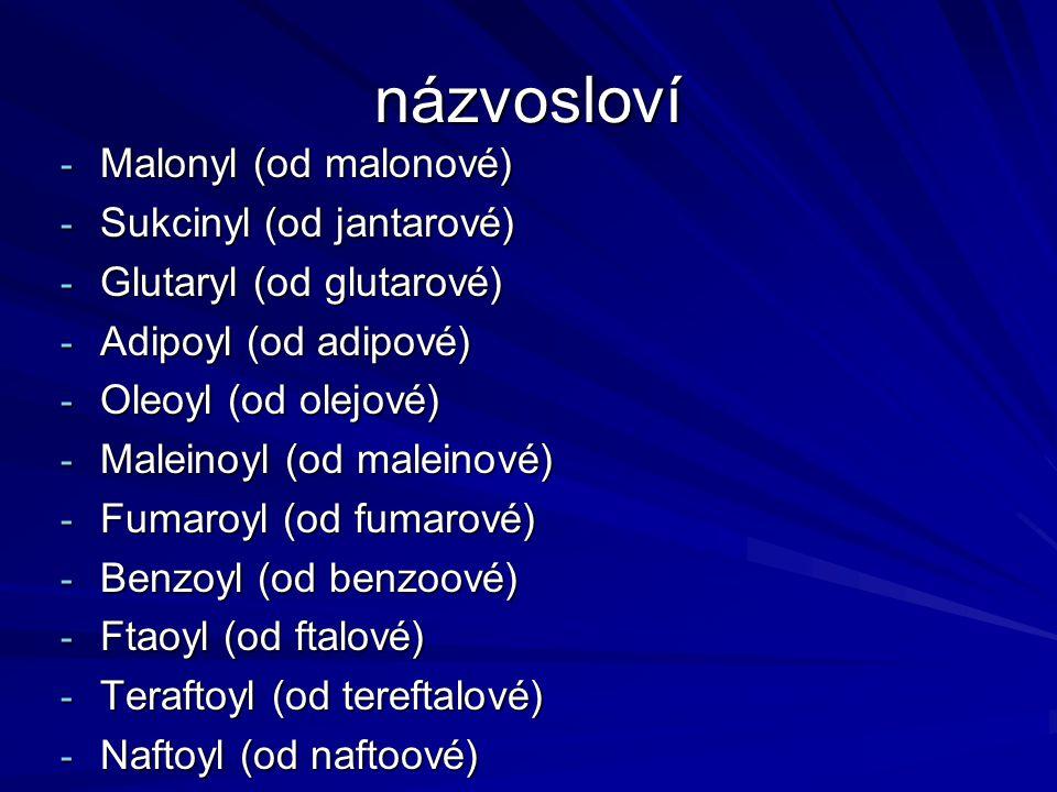 názvosloví - Malonyl (od malonové) - Sukcinyl (od jantarové) - Glutaryl (od glutarové) - Adipoyl (od adipové) - Oleoyl (od olejové) - Maleinoyl (od ma