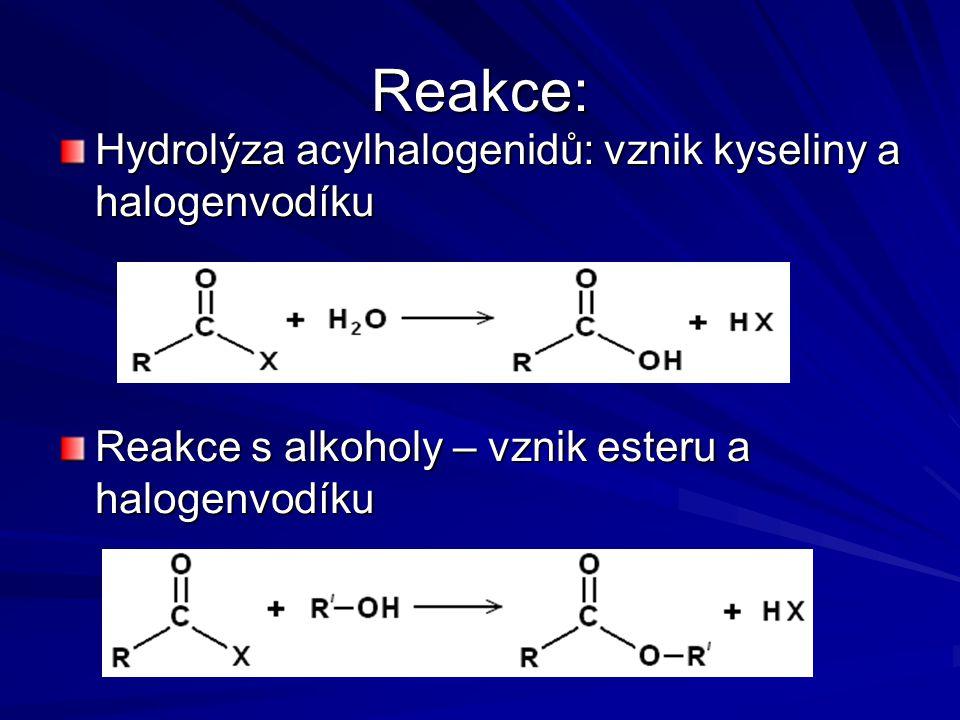 Reakce: Hydrolýza acylhalogenidů: vznik kyseliny a halogenvodíku Reakce s alkoholy – vznik esteru a halogenvodíku