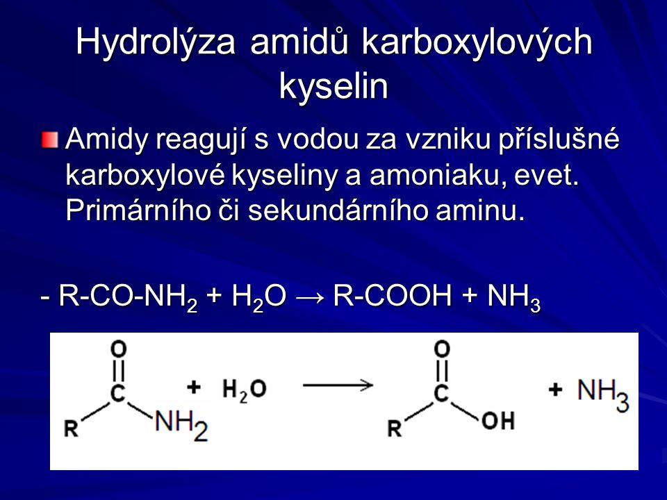 Hydrolýza amidů karboxylových kyselin Amidy reagují s vodou za vzniku příslušné karboxylové kyseliny a amoniaku, evet. Primárního či sekundárního amin