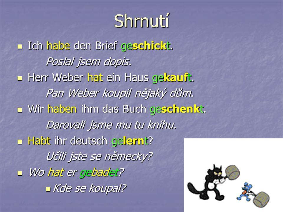 Některá slovesa – zvláště pohybová – tvoří perfektum pomocí slovesa sein (ich bin gereist).