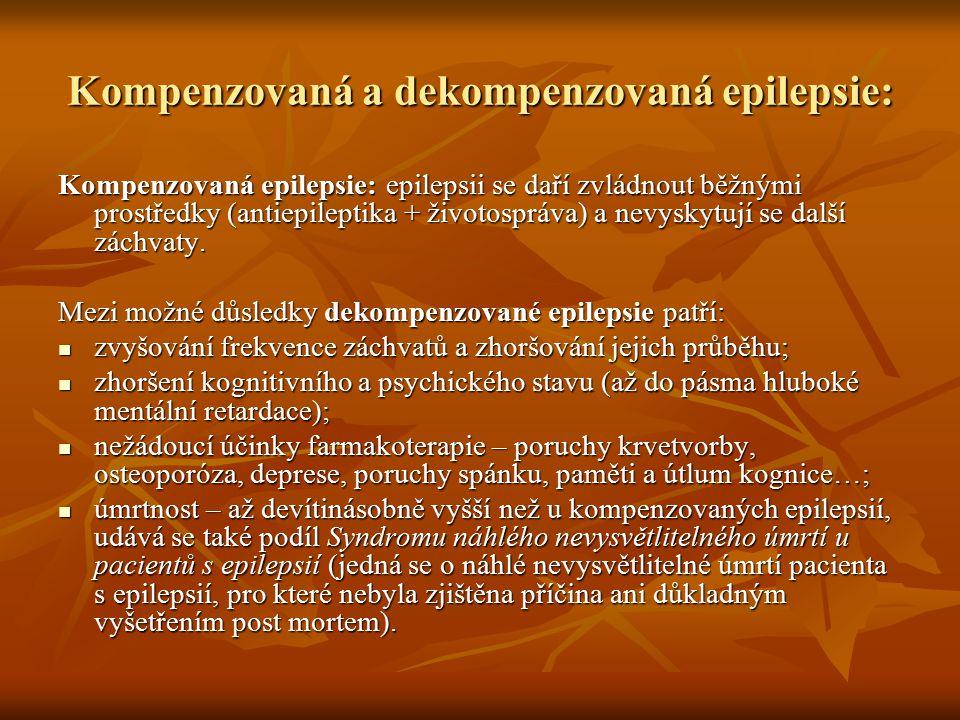 Kompenzovaná a dekompenzovaná epilepsie: Kompenzovaná epilepsie: epilepsii se daří zvládnout běžnými prostředky (antiepileptika + životospráva) a nevy
