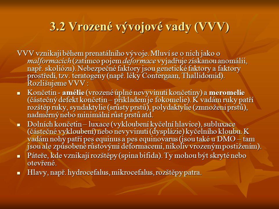 3.2 Vrozené vývojové vady (VVV) VVV vznikají během prenatálního vývoje. Mluví se o nich jako o malformacích (zatímco pojem deformace vyjadřuje získano