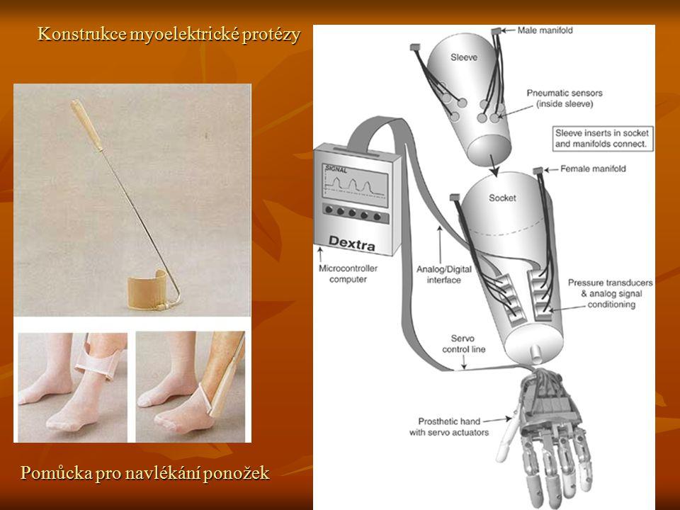 Konstrukce myoelektrické protézy Pomůcka pro navlékání ponožek