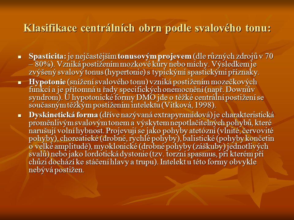 Klasifikace centrálních obrn podle svalového tonu: Spasticita: je nejčastějším tonusovým projevem (dle různých zdrojů v 70 – 80%). Vzniká postižením m