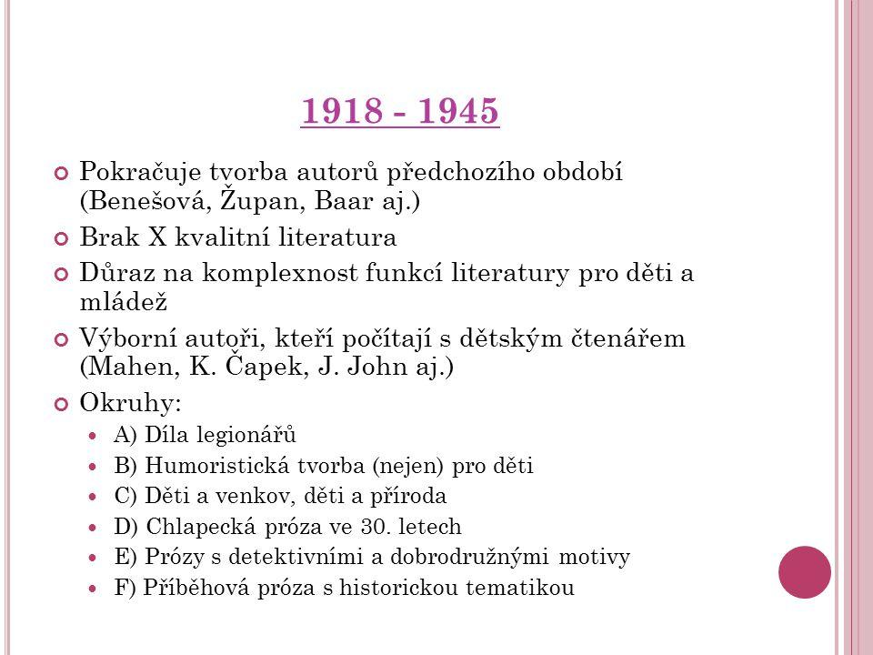 1918 - 1945 Pokračuje tvorba autorů předchozího období (Benešová, Župan, Baar aj.) Brak X kvalitní literatura Důraz na komplexnost funkcí literatury p