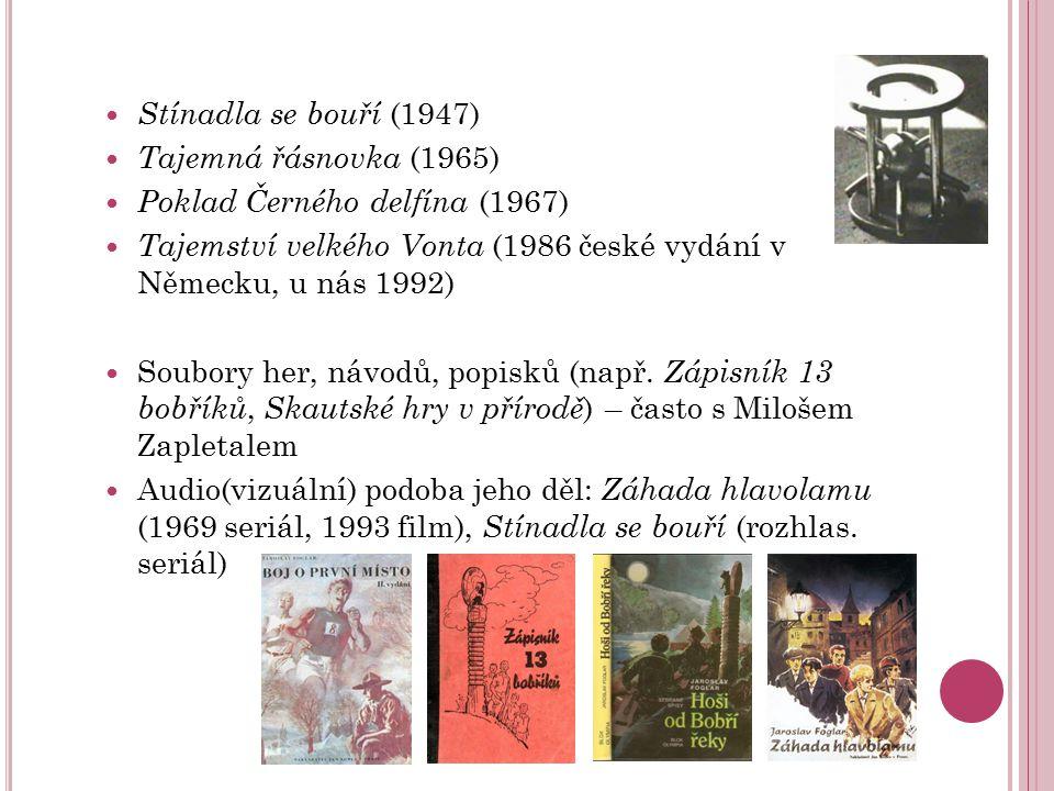 Stínadla se bouří (1947) Tajemná řásnovka (1965) Poklad Černého delfína (1967) Tajemství velkého Vonta (1986 české vydání v Německu, u nás 1992) Soubo