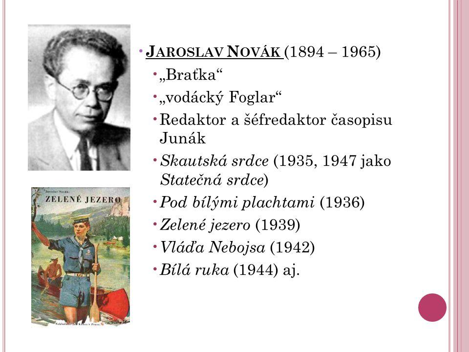 """J AROSLAV N OVÁK (1894 – 1965) """"Braťka"""" """"vodácký Foglar"""" Redaktor a šéfredaktor časopisu Junák Skautská srdce (1935, 1947 jako Statečná srdce ) Pod bí"""