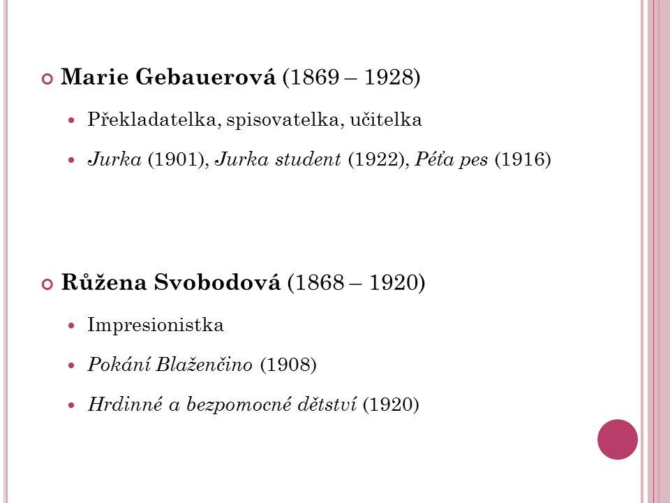 Marie Gebauerová (1869 – 1928) Překladatelka, spisovatelka, učitelka Jurka (1901), Jurka student (1922), Péťa pes (1916) Růžena Svobodová (1868 – 1920