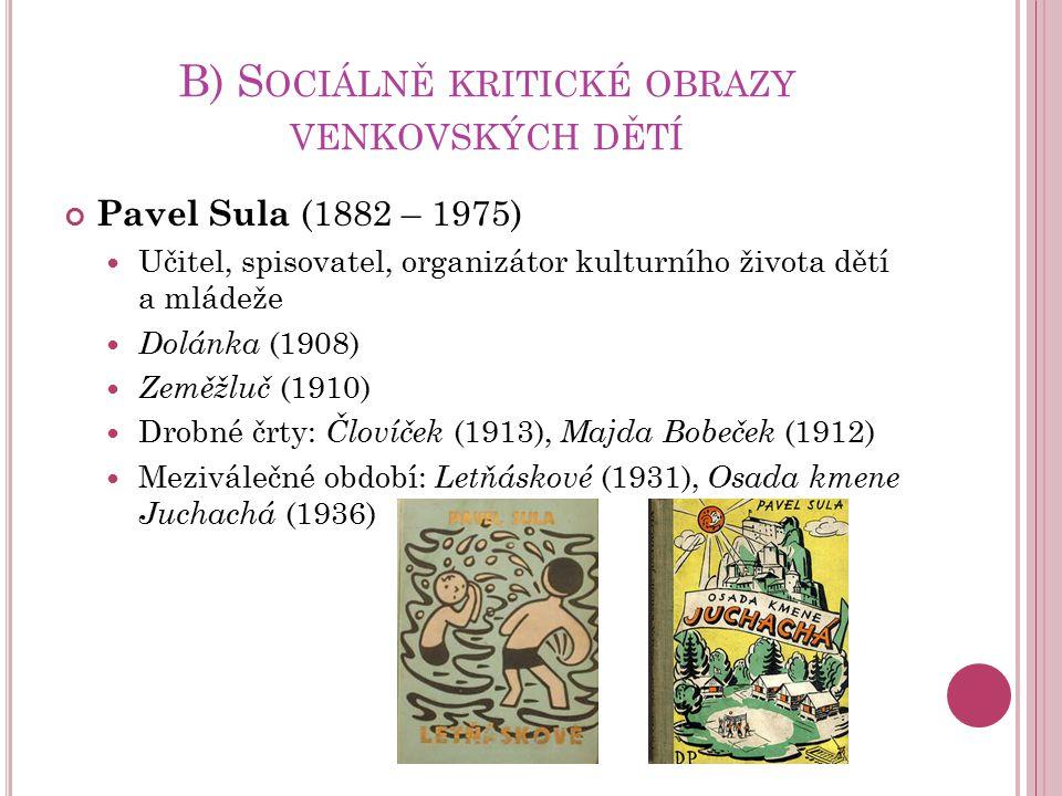 B) S OCIÁLNĚ KRITICKÉ OBRAZY VENKOVSKÝCH DĚTÍ Pavel Sula (1882 – 1975) Učitel, spisovatel, organizátor kulturního života dětí a mládeže Dolánka (1908)