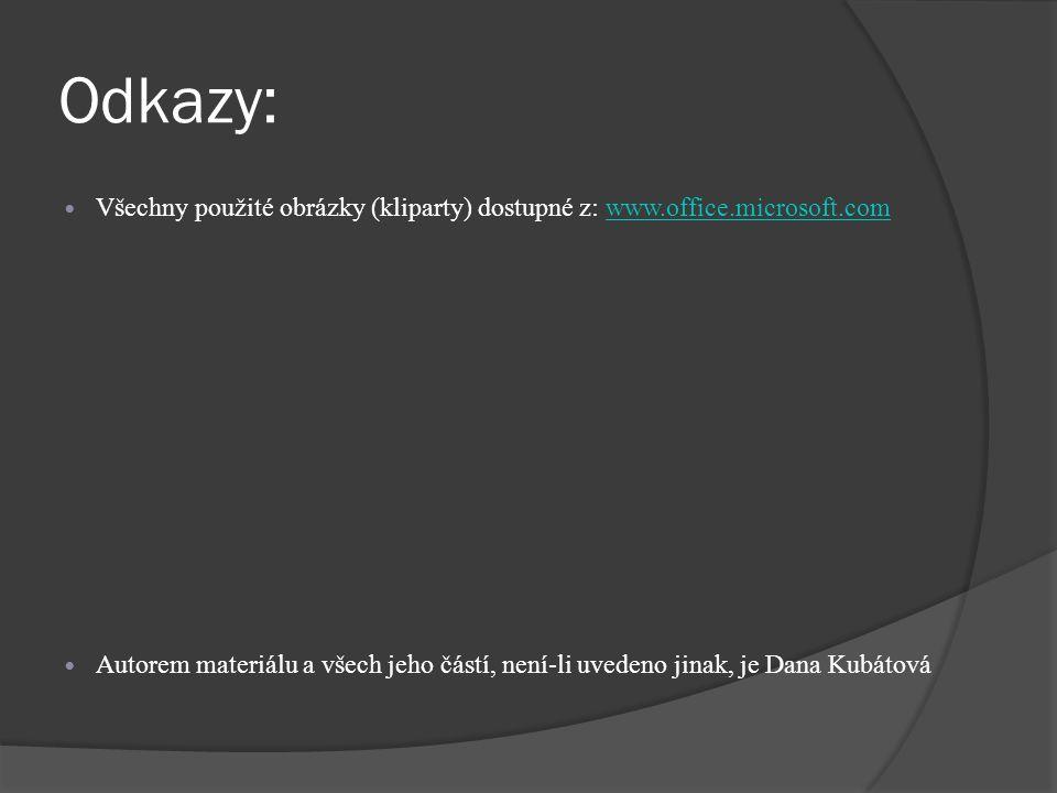 Odkazy: Všechny použité obrázky (kliparty) dostupné z: www.office.microsoft.comwww.office.microsoft.com Autorem materiálu a všech jeho částí, není-li uvedeno jinak, je Dana Kubátová